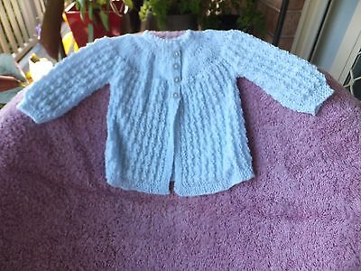 Baby Boy Hand Knitted Jacket.Blue.Fit 0-4mths