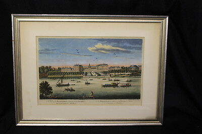 """Early 19th Century Bowles & Carver """"Royal Hospital at Chelsea"""" Hand Colored"""