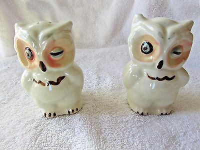 Vintage Shawnee Pottery Winking Owl Blue Eye Salt & Pepper Shakers  33