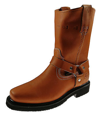 Men's Work Boots Pull On Biker Style Genuine Leather Honey Brown Black Shedron