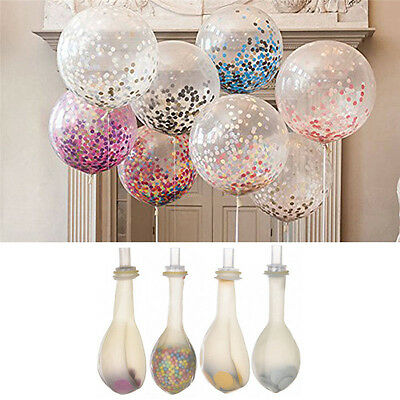"""2Pcs 12"""" Latex Clear Confetti Filled Balloons Birthday Party Wedding Decorations"""