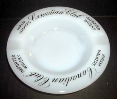 "Milk Glass Ashtray Canadian Club Hiram Walker's Whiskey 5 1/4"" EUC"