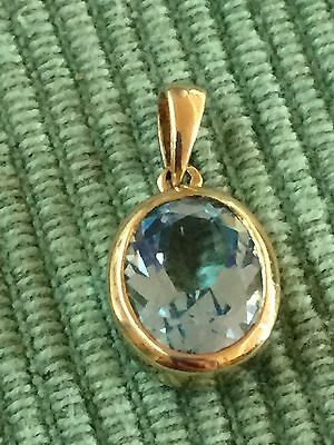 9K Gold and Natural Blue Topaz  3.5CT  (Bezel set) Pendant ,Vintage