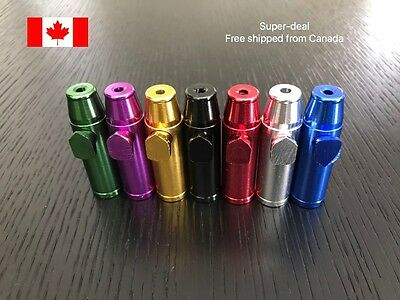 3 of Metal Snuff Bullet Rocket Snuff Dispenser Snorter Snuffer Tube Bottle