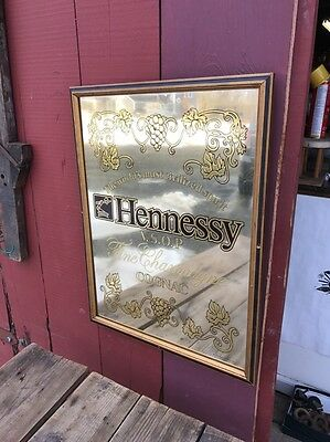 "Rare Vtg HENNESSY COGNAC 26"" TALL WOOD FRAMED MIRROR BAR Champagne Orig Display"
