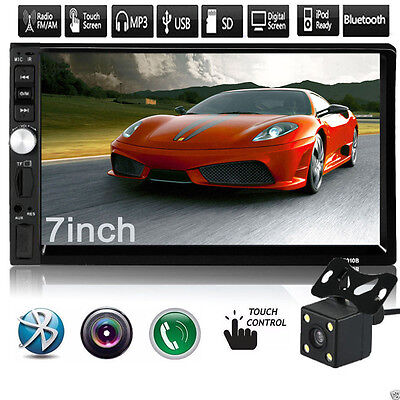 """7"""" Double 2DIN Car MP5 MP3 Player Bluetooth Touch Screen Stereo Radio HD+Cam"""