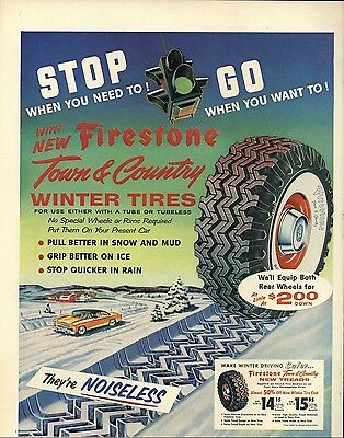 1955 Firestone New Town & Country Noiseless Winter Tires Vintage Print Ad