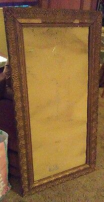 Antique Very Large Wooden Gold Gesso Picture Mirror Frame