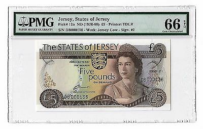 Jersey ND(1976-88) 5 Pounds, low no Pick# 12a, QEII, PMG 66EPQ, Gem Uncirculated