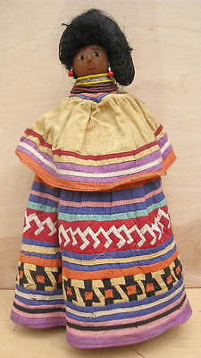VTG Florida Seminole Indian Doll w/ Real Human Hair-Nose -Patchwork Skirt RARE