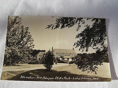 1940 RPPC Postcard Potawatomi Inn Pokagon State Park Lake James Ind