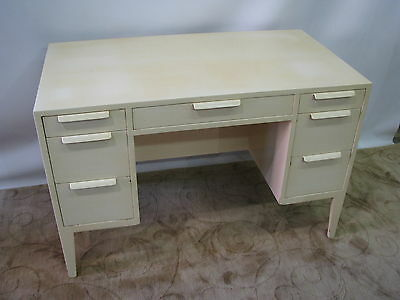 Scarce Ed Wormley for Dunbar Lacquered Cream Desk With Back Side Shelving