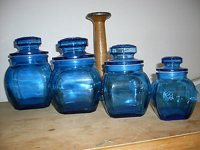 Stunning Vintage Blue Glass Cannisters Containers With Lids - Set Of Four