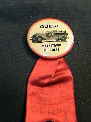 celluloid/tin pinback w/ribbon: Guest Myerstown Fire Dept, pic 1930s fire  truck