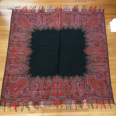 1880's Antique Paisley Shawl Wool Hand Woven 64 x 64 Red Black Center Beautiful