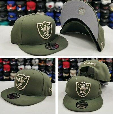 Exclusive New Era NFL Shield Oakland Raiders Logo  Snapback hat Cap Olive Green