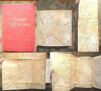 1902 Baedeker's RHEINLANDE-Germany-Travel Guide-46 Town Maps 25 Street Maps