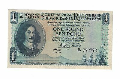 SOUTH AFRICA 1 POUND 1954 P#93 Fancy S/N # 778-778 ( #203)
