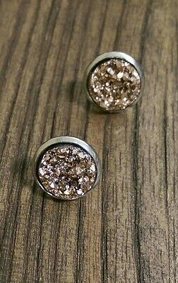 Stainless Steel Faux Druzy Stud Earrings Copper Rose Gold Sparkles 12mm
