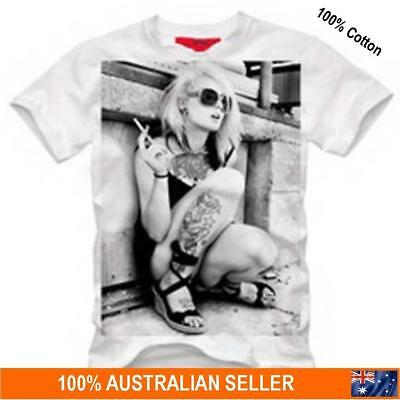 Mens Ladies Casual Cool ChicTattoo Style T Shirt 100% Cotton AU STOCK