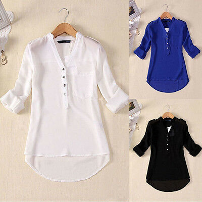 Fashion Summer Women Casual Chiffon Long Sleeve Ladies Shirt Loose Tops Blouse
