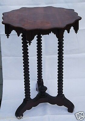 Nice Antique Rosewood Jenny Lind Style Hand Carved Planter Stand, Signed