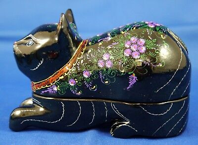 Hand Made & Painted Black Lacquer Wood Cat Trinket Box w Fine Floral Decorations