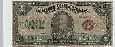 Dominion of Canada 1 dollar 1923 sign McCavour & Saunders VG-F tears