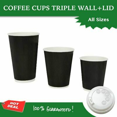Disposable Coffee Cups Triple Wall Wave 8Oz W/Lids Takeaway Bulk coffee cups