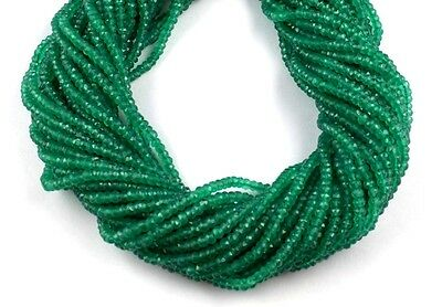 """5 Strand  Green Onyx Gemstone Faceted Rondelle Beads 3.5-4mm 13.5"""" Long"""