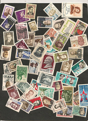 Russie Lot 50 Timbres Personnalites Obliteres