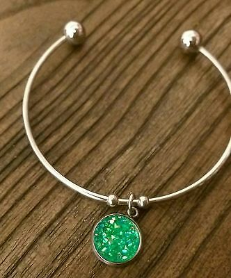 Stainless Steel Silver Faux Druzy Green Jade Sparkly Charm Cuff Bangle