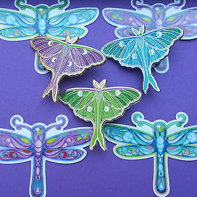 3 Pins + 4 Stickers -Theme Luna Moths and Dragonflys -Phish Hat Lapel