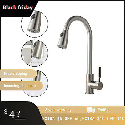 Brushed Nickel Brass Kitchen Faucet Pull Out Spout Sink Mixer Tap Cover Plate US