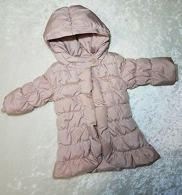 baby gap infant girl blush pink puffer coat size 6-12 months