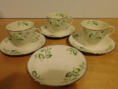 3 Vintage Alfred Meakin 'Royal Marigold Greenways' Tea Cups & 4 Saucers
