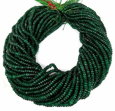 """5 Strand Emerald Chalcedony Loose Gemstone Faceted Rondelle Beads 4mm 14"""" Long"""