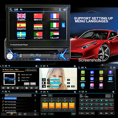 """7"""" Touch Screen Single Din Car Stereo Wince CD DVD Player Bluetooth Flip out RDS"""