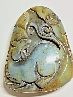 Antique Hand Carved Chinese Green Yellow Jade Figural Pendant Sculpture Amulet