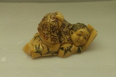 antique japanese hand carved and signed netsuke