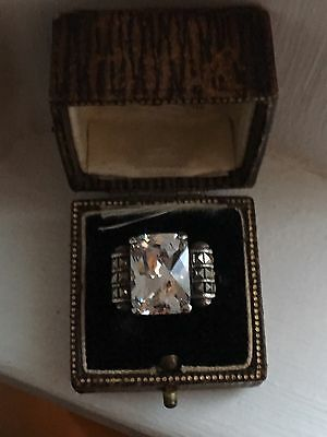 Stunning Vintage Sterling Silver Faceted Emerald Cut Crystal Marcasite Ring