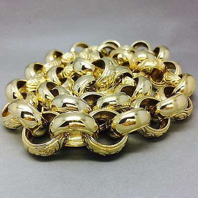 MENS HEAVY 296.4g PATTERNED & PLAIN BELCHER CHAIN 9CT GOLD ON JEWELLERS BRONZE