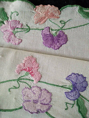 Sweet-peas ~ Vintage Heavily Hand Embroidered Tablecloth ~ Hint of Green Linen