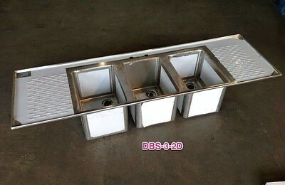 Stainless Steel 3 Bowl Drop In Sink with 2 Drain Boards