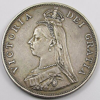 QUEEN VICTORIA JUBILEE HEAD SILVER DOUBLE FLORIN/ FOUR SHILLINGS COIN dated 1887