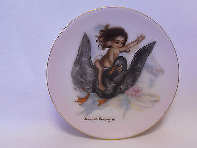 BROWNIE DOWNING SIGNED 10cm PIN DISH WITH YOUNG GIRL SITTING ON THE BACK OF SWAN