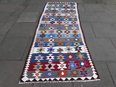 Old Traditional Handmade Persian Oriental Blue White Wool Cotton Kilim 290x120cm
