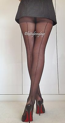 3 x Pr. Black Seam & Heel Pantyhose Seamed Tights Stockings Nylons size S