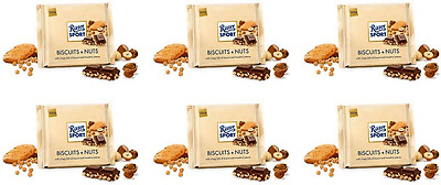 911022 6 x 100g BARS OF RITTER SPORT BISCUITS + NUTS MILK CHOCOLATE! GERMAN