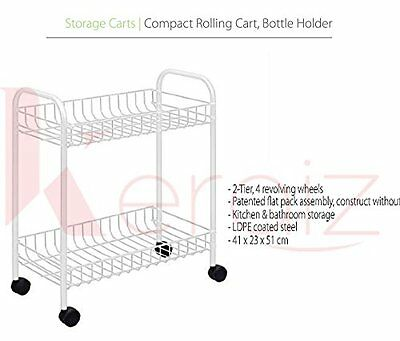 Keraiz® 2-Tier Multi-Purpose Service Trolley, White